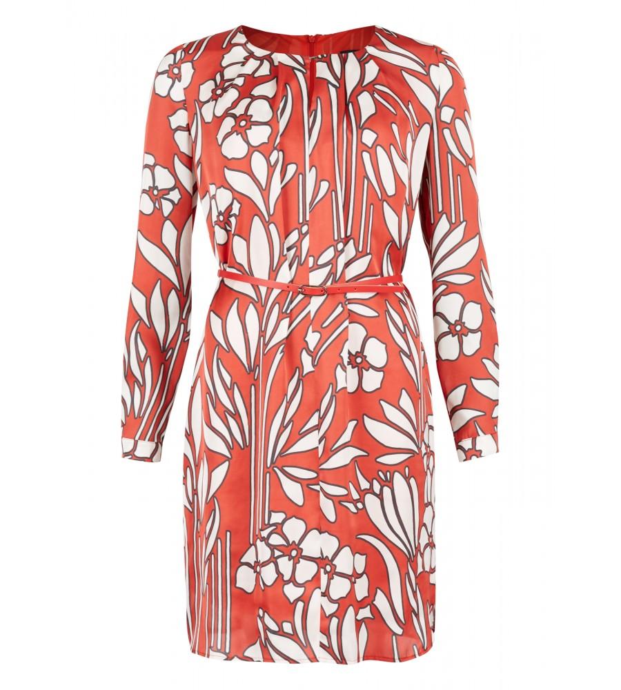 Trendiges Kleid mit Blumen-Muster - Dieses Kleid von Daniel Hechter ist ein Must-Have für jede Garderobe. Das elegante Design ist gekennzeichnet durch ein florales Muster, den Kragen mit Schlitz und gelegten Falten und eine Ziernaht für eine schöne Silhouette. Als zusätzliches modisches Accessoire kommt ein Taillengürtel dazu.