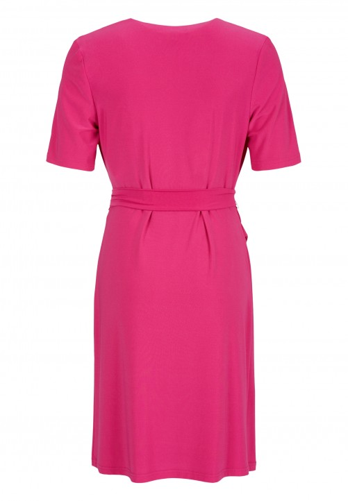 Feminines Kleid in Wickel-Optik, fuchsie
