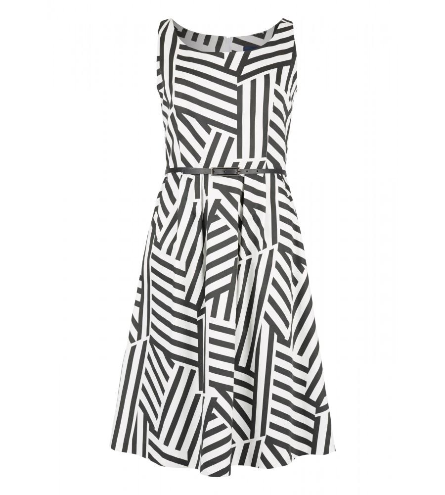 Satin-Kleid mit grafischem Muster - Dieses feminin geschnittene Kleid von Daniel Hechter passt sowohl zu Business- als auch zu Freizeit-Anlässen. Modische Details wie der schmale Taillengürtel runden den Look modisch ab. Das grafische Muster macht das Kleid zum Hingucker. Mit dem Stoff aus Baumwollsatin trägt sich das Kleid sehr angenehm.