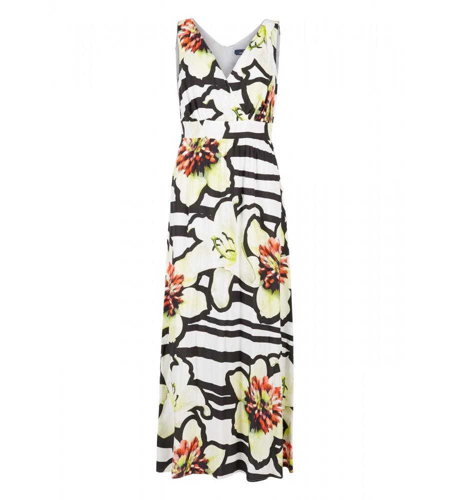 Maxi-Kleid mit Blumen-Muster - Dieses hübsche Maxi-Kleid von Daniel Hechter ist der ideale Begleiter für warme Tage. Bodenlang, flie�end leicht und luftig kommt es daher, und sorgt dank des raffinierten V-Ausschnitts in Wickel-Optik für eine feminine Silhouette. Der Stoff aus reiner Viskose trägt sich sehr angenehm, das auffällige Blumen-Muster rundet den Look ab.