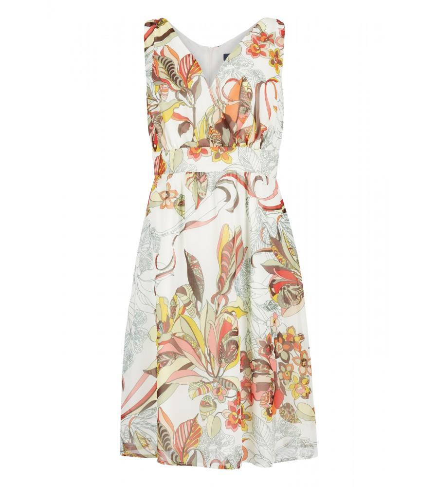 Kleid in Wickel-Optik - Ein perfekt geschnittenes, feminines Kleid wie dieses Modell von Daniel Hechter ist ein unumgänglicher Begleiter für warme Tage. Mit dem raffinierten V-Ausschnitt in Wickel-Optik und der Taillierung sorgt es für eine schöne Silhouette, während das grafische Muster stilvoll und sommerlich wirkt.