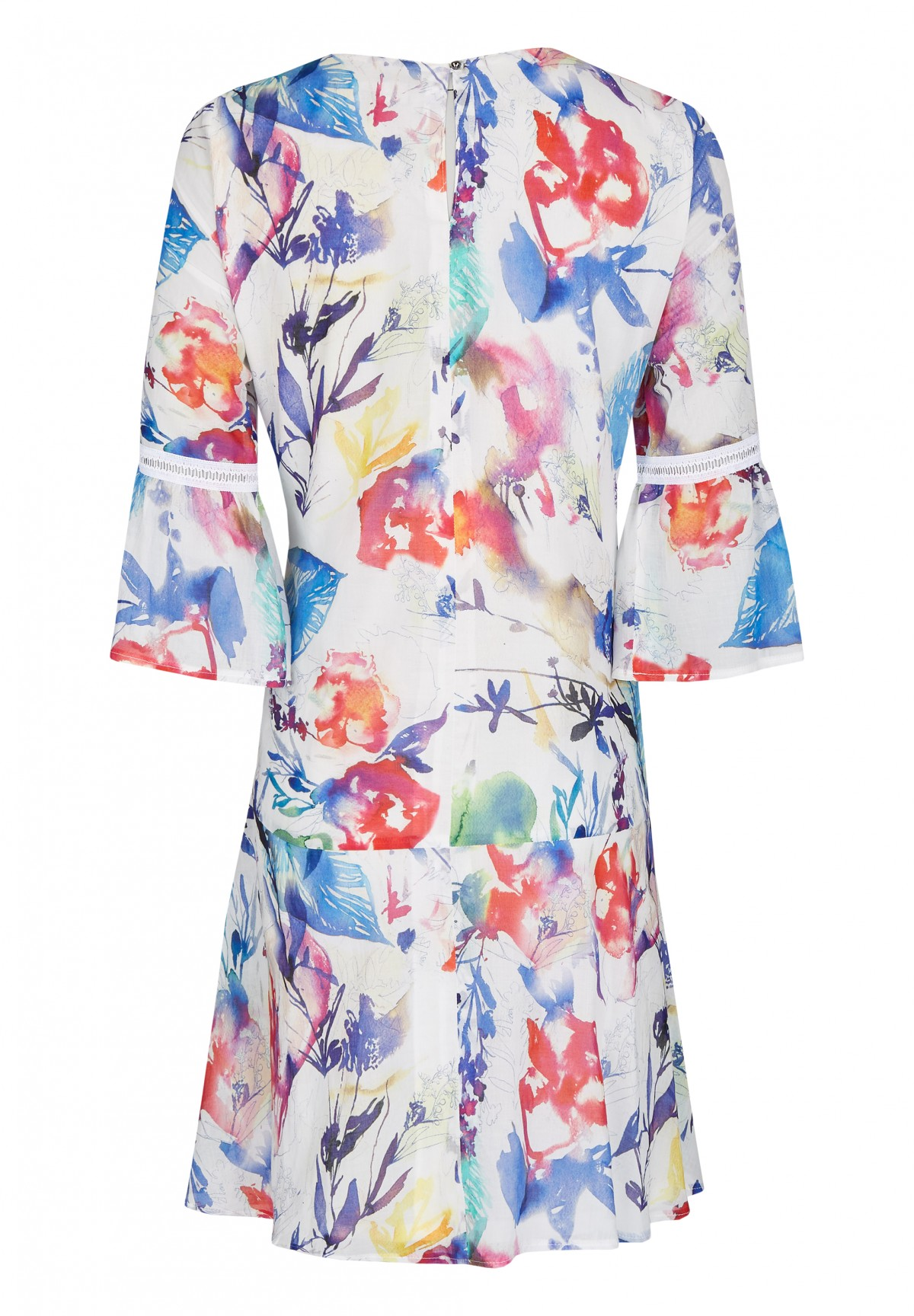 Robe mi-longue taille basse  manches 3/4  motif floral /