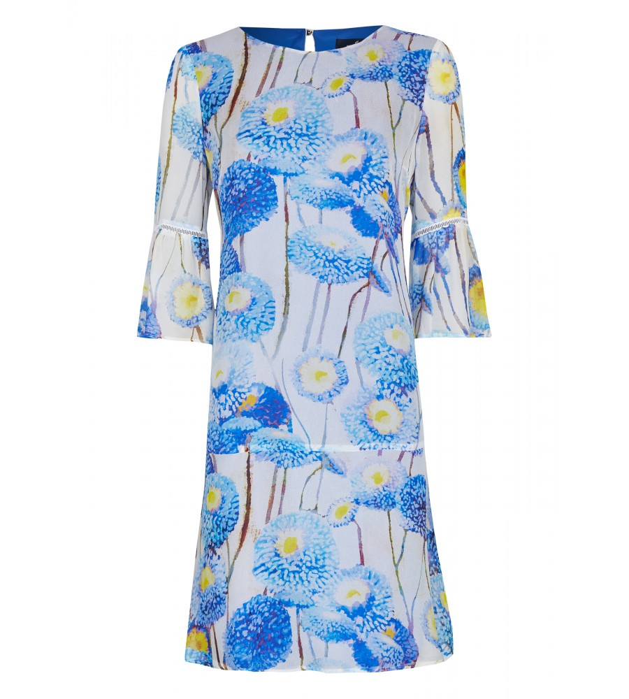 Modisches Kleid mit floralem Druck - Dieses modische Kleid von Daniel Hechter ist der perfekte Partner für den Sommer. Es präsentiert sich mit einem kurzen �rmeln, einem kleinen Rundhalsausschnitt sowie einem floralen Muster. Das Kleid lässt sich mit einem Rei�verschluss verschlie�en. Der Stoff ist sommerlich leicht und schmeichelt der Haut.