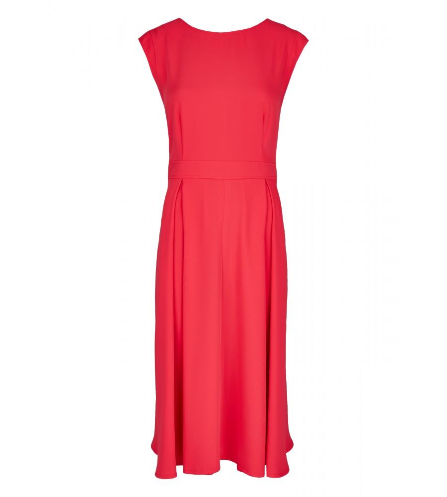Sommerliches Kleid mit minimalem �rmelansatz - Dieses schöne Kleid von Daniel Hechter ist der perfekte Partner für den Sommer. Es präsentiert sich mit einem minimalen �rmelansatz, einer raffinierten Kragenform sowie Ziernähten und gelegten Falten für eine feminine Silhouette. Das Kleid lässt sich mit einem Rei�verschluss verschlie�en. Der Stoff ist sommerlich leicht und schmeichelt der Haut.