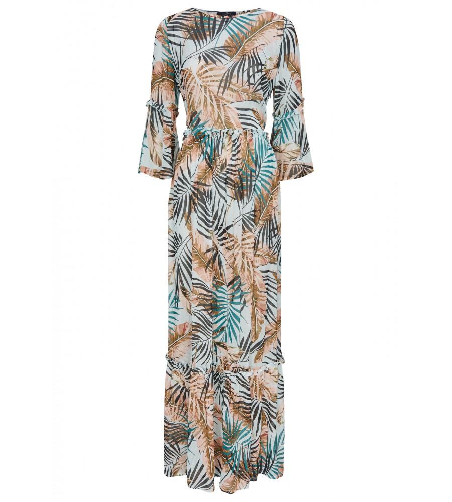 Trendiges Kleid mit Rüschen - Dieses Kleid von Daniel Hechter ist ein unwiderstehlicher Begleiter für den Sommer. Das feminine Design ist gekennzeichnet durch ein mehrfarbiges Muster, den ovalen Ausschnitt sowie �rmel in ¾-Länge. Es besteht aus reiner, flie�ender Viskose, die der Haut schmeichelt und auch bei warmem Wetter für höchsten Tragekomfort sorgt.