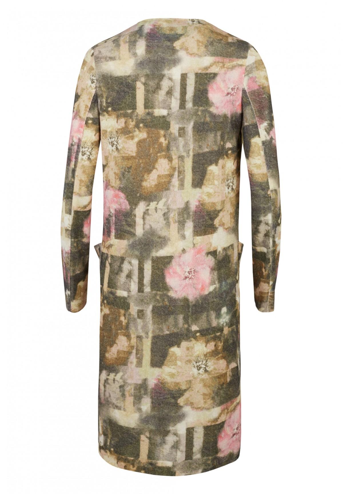 Manteau long en maille à motif floral /