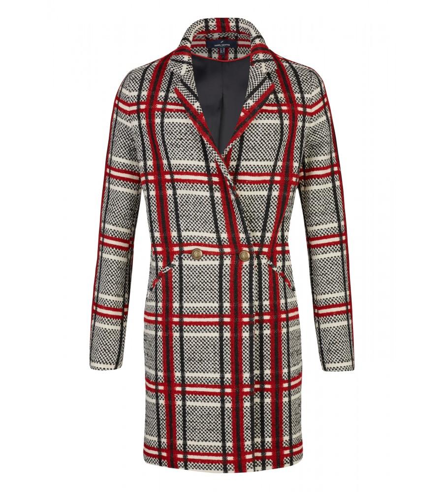 Schicker Wintermantel mit grafischem Muster - Mit diesem Mantel von Daniel Hechter haben Sie einen stilvollen Begleiter für den Winter. Er ist mit einem grafischen Muster geziert, verfügt über zwei seitliche Eingriffstaschen und eine doppelte Knöpfung. Durch den hohen Wollanteil im Material-Mix hält der Mantel kuschelig warm.