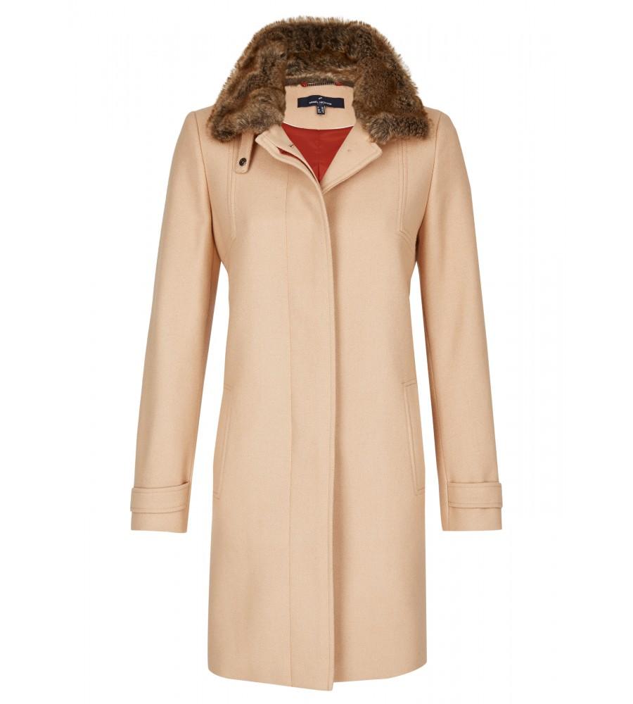 Eleganter Mantel - Dieser elegante Mantel wertet schlichte Business-Outfits modisch auf und verleiht Ihrem Look einen Trend-Faktor durch den hübschen Reverskragen und den geraden Schnitt. Das Material aus Schurwolle und hochwertiger Kunstfaser bietet angenehme Trageeigenschaften. Der Kragen mit Faux-Fur-Applikation rundet das Design modisch ab.
