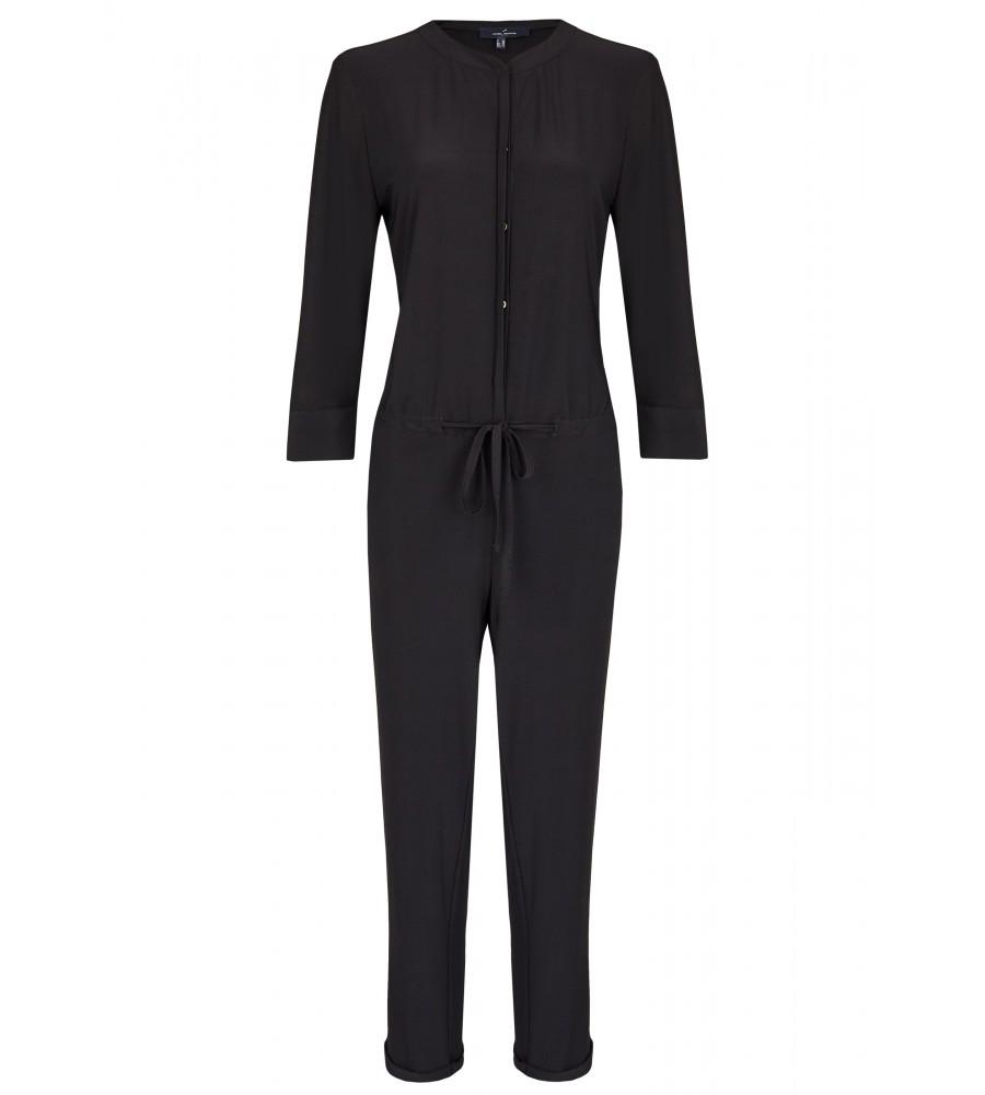 Modischer Jumpsuit - Ein absolutes Must-Have ist dieser trendige Jumpsuit aus hochwertiger Kunstfaser. Er besteht aus einem schmal geschnittenen Hosen-Teil, sowie einem Blusenschnitt am Oberteil. Für einen eleganten Look kombinieren Sie dazu Pumps und Blazer, für einen lässigen Look Stiefel und Lederjacke.