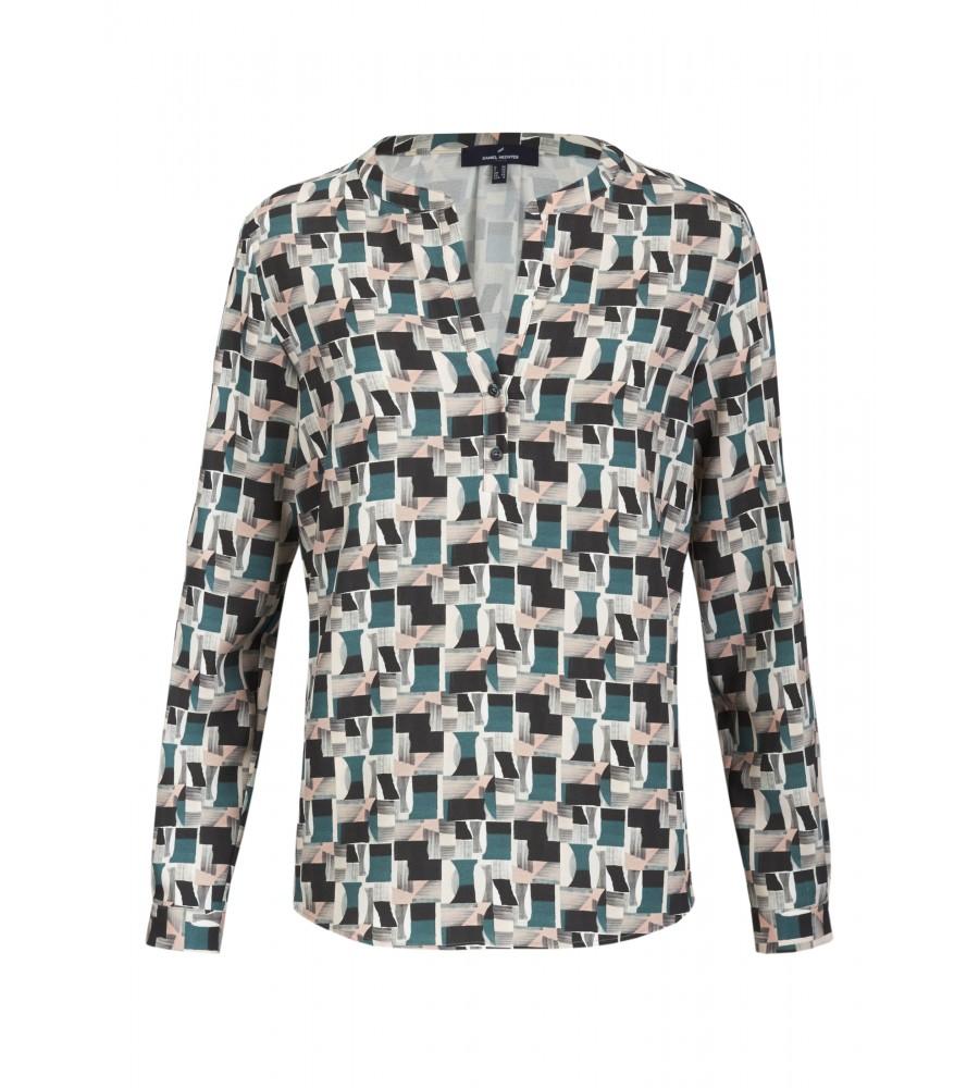 Bluse Onirique - Exklusiv und unkonventionell kommt diese Bluse mit grafischem Muster daher. Für einen eleganten Look sorgt der V-Ausschnitt mit Knopfleiste. Das Material aus hochwertiger Kunstfaser trägt sich besonders angenehm. Ein idealer Partner sowohl für Business-Outfits als auch zu Jeans.