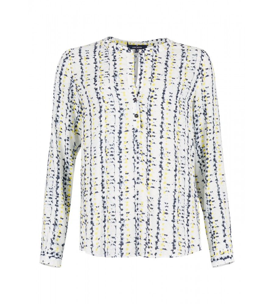 Bluse mit grafischem Muster - Mit dieser sommerlichen Bluse von Daniel Hechter ist Ihnen ein modisch-eleganter Auftritt sicher! Sie begeistert durch das grafische Muster in Kombination mit dem raffinierten Ausschnitt, der sich aus V-Ausschnitt und Knopfleiste zusammensetzt. Sie besteht aus reinster, flie�ender Viskose, die auch bei wärmeren Temperaturen für ein angenehmes Tragegefühl sorgt.
