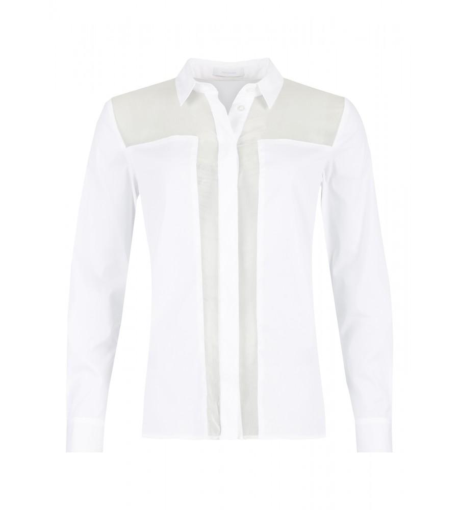 Bluse mit Kontrast-Elementen - Diese modische Bluse ist ein essentieller Bestandteil Ihrer Business-Garderobe. Sie ist modern geschnitten, komplett durchgeknöpft und verfügt über einen Hemdkragen. Zum Must-Have wird sie durch die trendigen Kontrast-Elemente. Die Bluse passt perfekt zur Jeans oder für Ihren Business-Look. Das Material aus Baumwolle mit Kunstfaser-Anteil ist besonders hochwertig verarbeitet und verspricht ein angenehmes Tragegefühl.