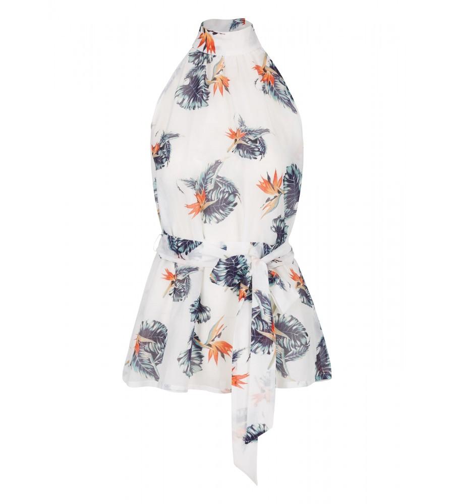 Bluse mit floralem Muster - Bringen Sie einen Hauch Exotik in Ihre Sommer-Looks! Die trendige Bluse mit dem floralen Muster kombiniert edle Materialien mit einem modernen Schnitt. Der Taillengürtel zaubert eine feminine Silhouette, während der Seiden-Anteil im Material für hohen Tragekomfort an hei�en Tagen sorgt.