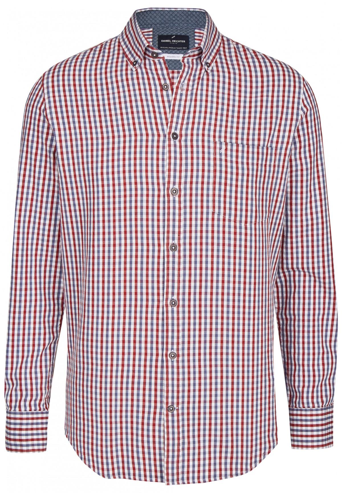 Chemise à carreaux col boutonné /
