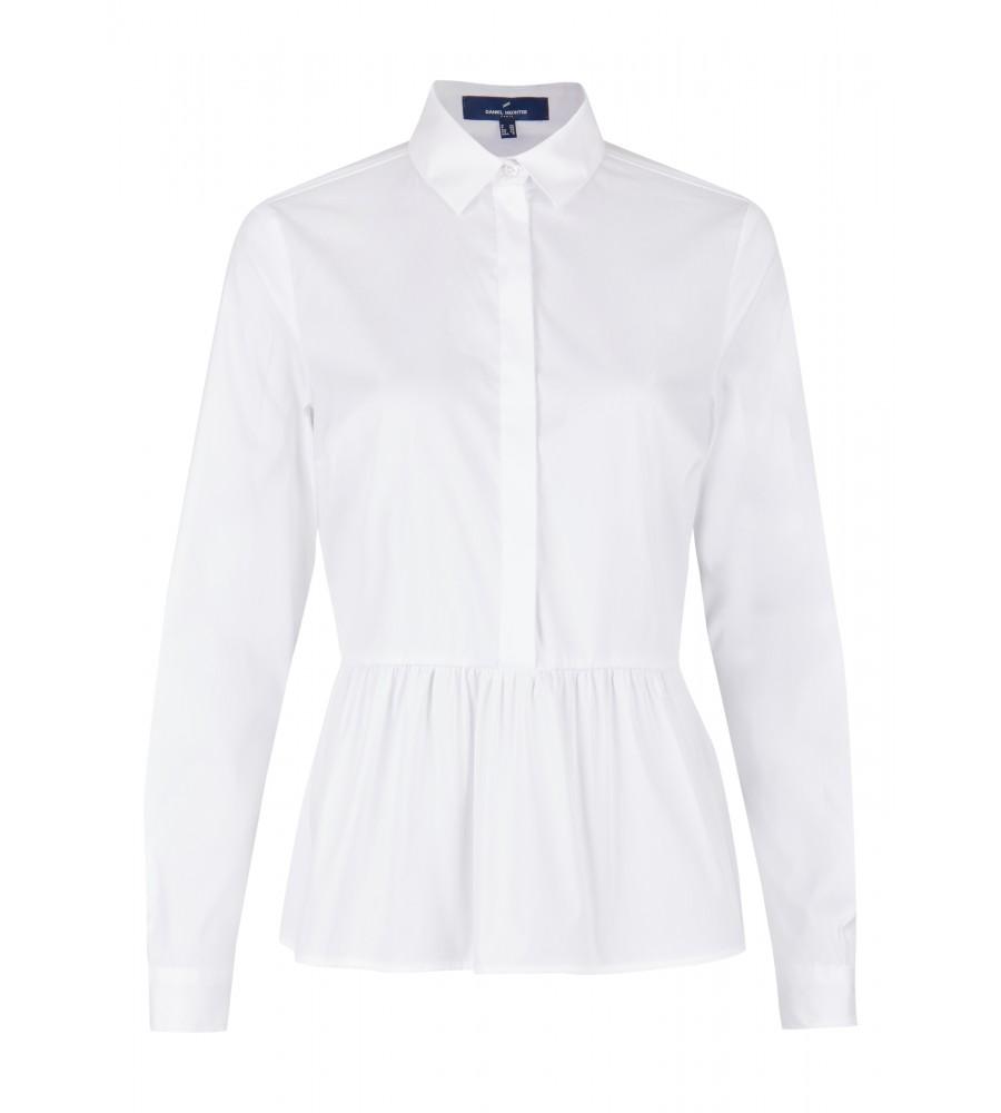 Modische Bluse mit Rüschen - Diese modische Bluse ist ein essentieller Bestandteil Ihrer Business-Garderobe. Ihren modernen Look erhält sie durch die hochgeschlossene Form und die Rüschen. Sie lässt sich toll zu Business-Outfits oder Jeans kombinieren. Die perfekte Passform entsteht durch den femininen Schnitt und das Material aus Baumwoll-Mix mit Stretch-Anteil.