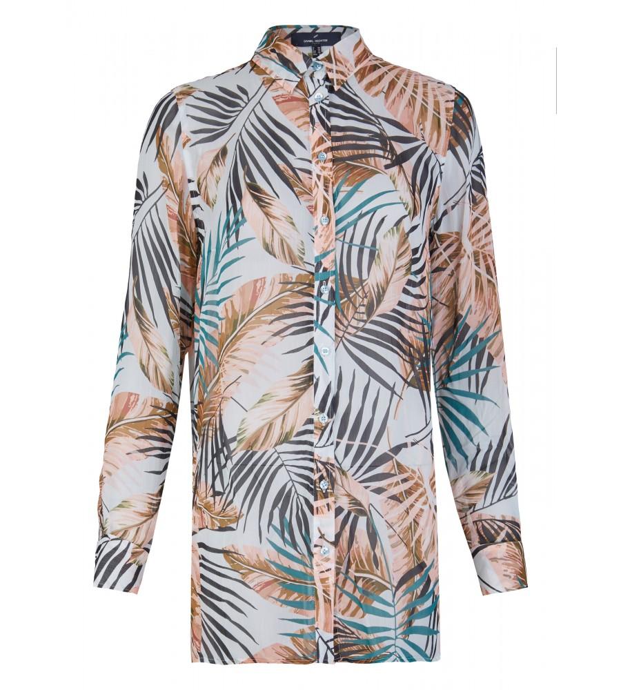 Trendige Longbluse mit All-over-Palmenprint - Beweisen Sie Stilbewusstsein mit dieser sommerlichen Bluse von Daniel Hechter. Ihren modischen Look erhält sie durch den langen Schnitt in Kombination mit dem trendigen All-Over-Palmenprint. Die Bluse besteht aus reiner, flie�ender Viskose, die der Haut schmeichelt.