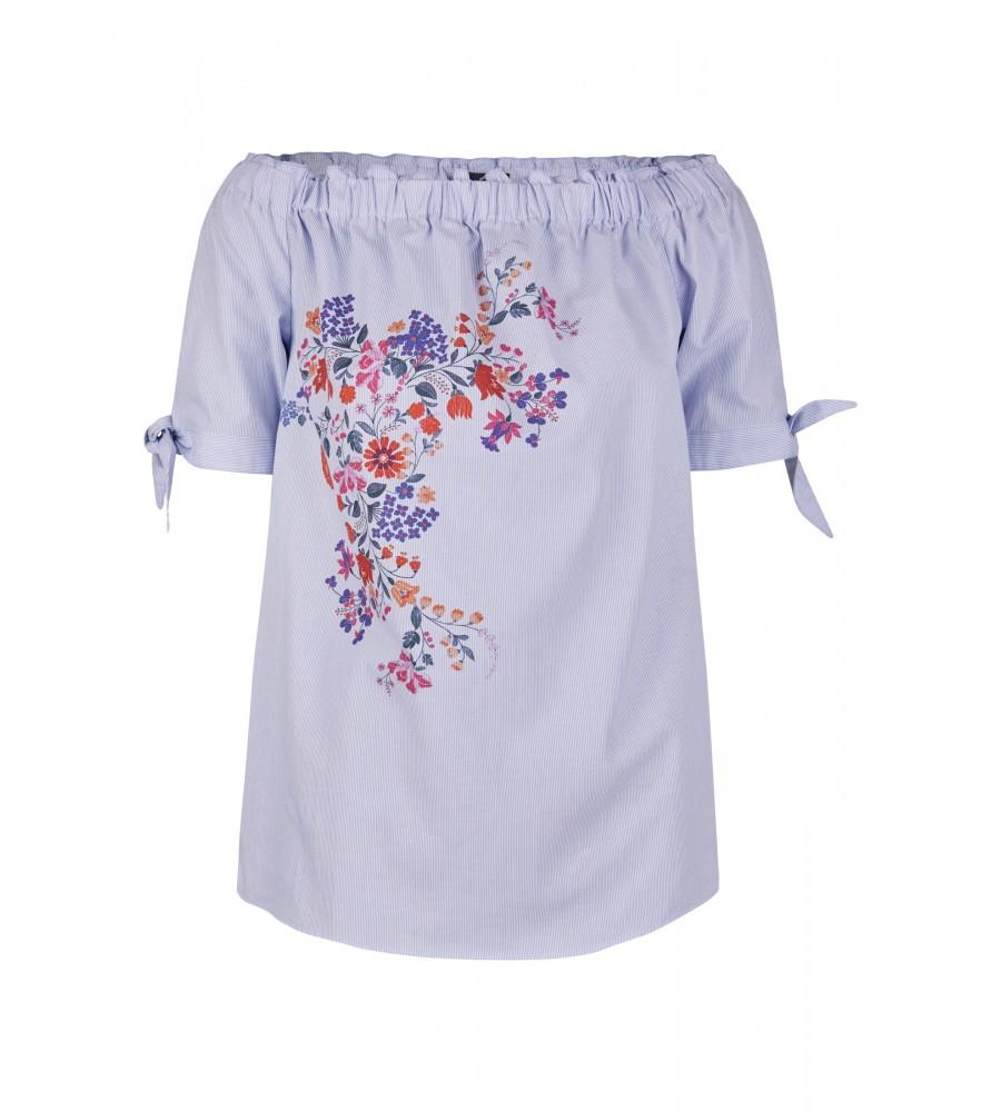 Trendige Carmen-Bluse mit Blumen-Print - In dieser trendigen Bluse in Carmen-Form von Daniel Hechter finden Sie das Must-Have der aktuellen Saison! Sie kommt leichter Qualität aus reinster Baumwolle, die perfekte Trageeigenschaften verspricht und sich auch an hei�en Tagen angenehm trägt. Das Blumen-Print und die �rmelbunde mit Schleife runden den modischen Look ab.