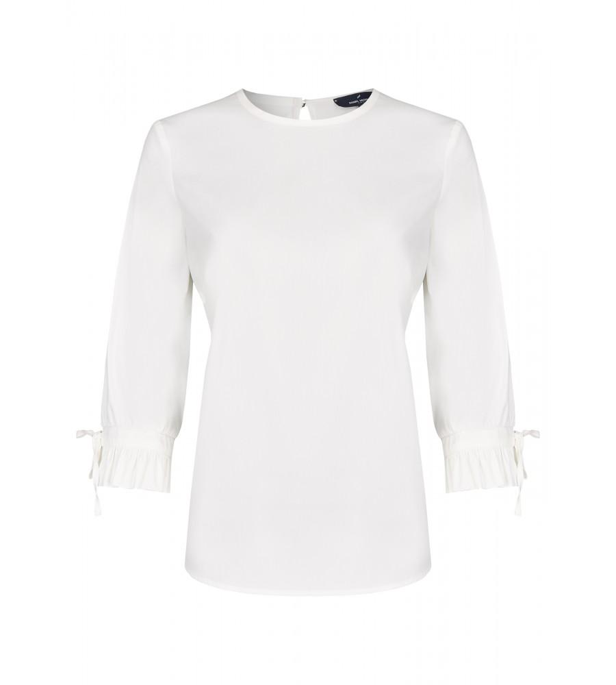 Modische Bluse - Diese modische Bluse ist ein essentieller Bestandteil Ihrer Business-Garderobe. Ihren modernen Look erhält sie durch den geraden Schnitt, das Rüschenvolant an den Manschetten und dem Knopfverschluss am Rücken. Sie lässt sich toll zu Business-Outfits oder Jeans kombinieren. Die perfekte Passform entsteht durch das Material aus hochwertigem Baumwoll-Mix.