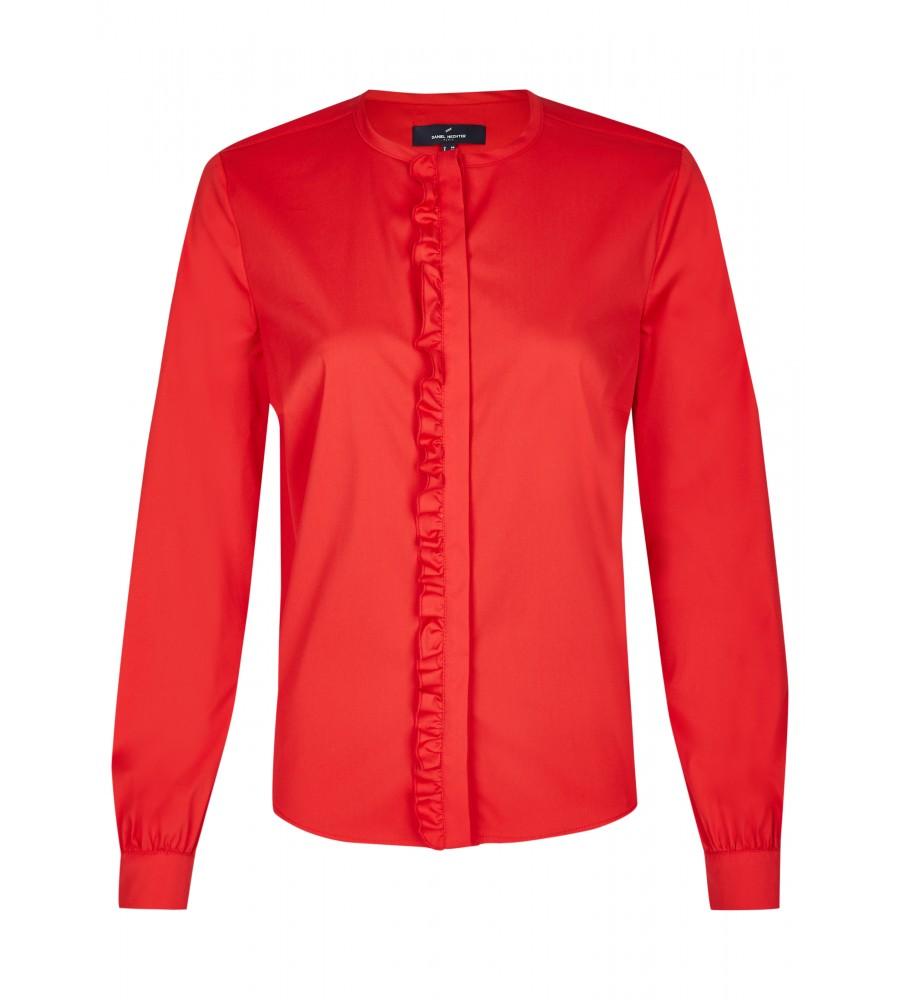 Modische Bluse - Diese modische Bluse ist ein essentieller Bestandteil Ihrer Business-Garderobe. Sie ist gerade geschnitten und begeistert mit einer verdeckten Knopfleiste mit Rüschen. Der Material-Mix aus Baumwolle mit Polyester und Stretch-Anteil verleiht ihr einen hohen Tragekomfort, Langlebigkeit und Formstabilität. Der Look wird abgerundet durch Knöpfe an den �rmeln.