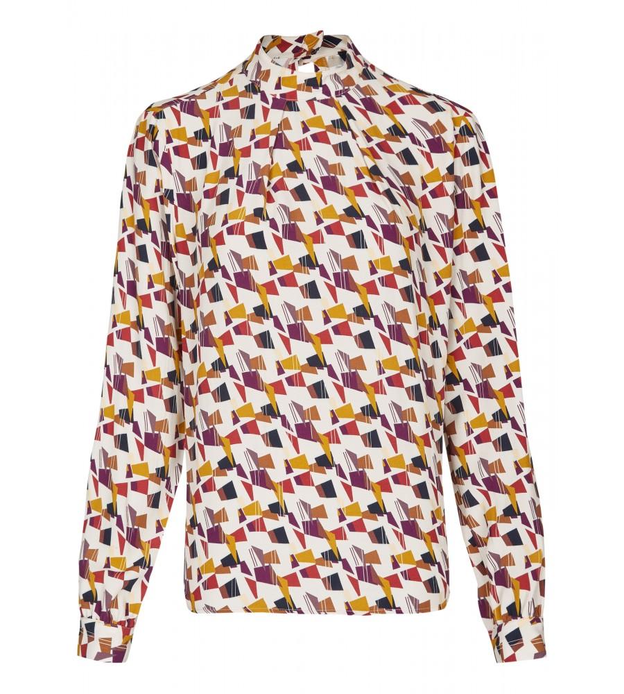 Transparente Bluse - Diese modische Bluse ist ein essentieller Bestandteil Ihrer Business-Garderobe. Ihren modernen Look erhält sie durch den transparenten Stoff, das modische All-Over-Print sowie den Stehkragen. Sie lässt sich toll zu Business-Outfits oder Jeans kombinieren. Die perfekte Passform entsteht durch das Material aus reiner, flie�ender Viskose.