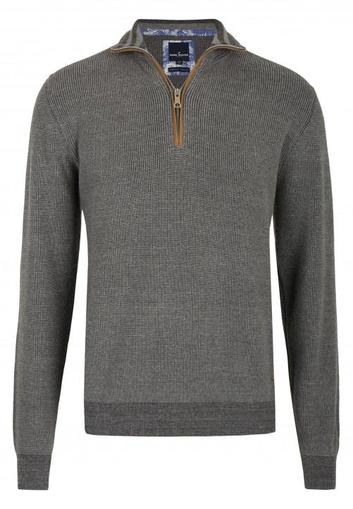 Pullover mit Troyer-Kragen, silbergrau melange