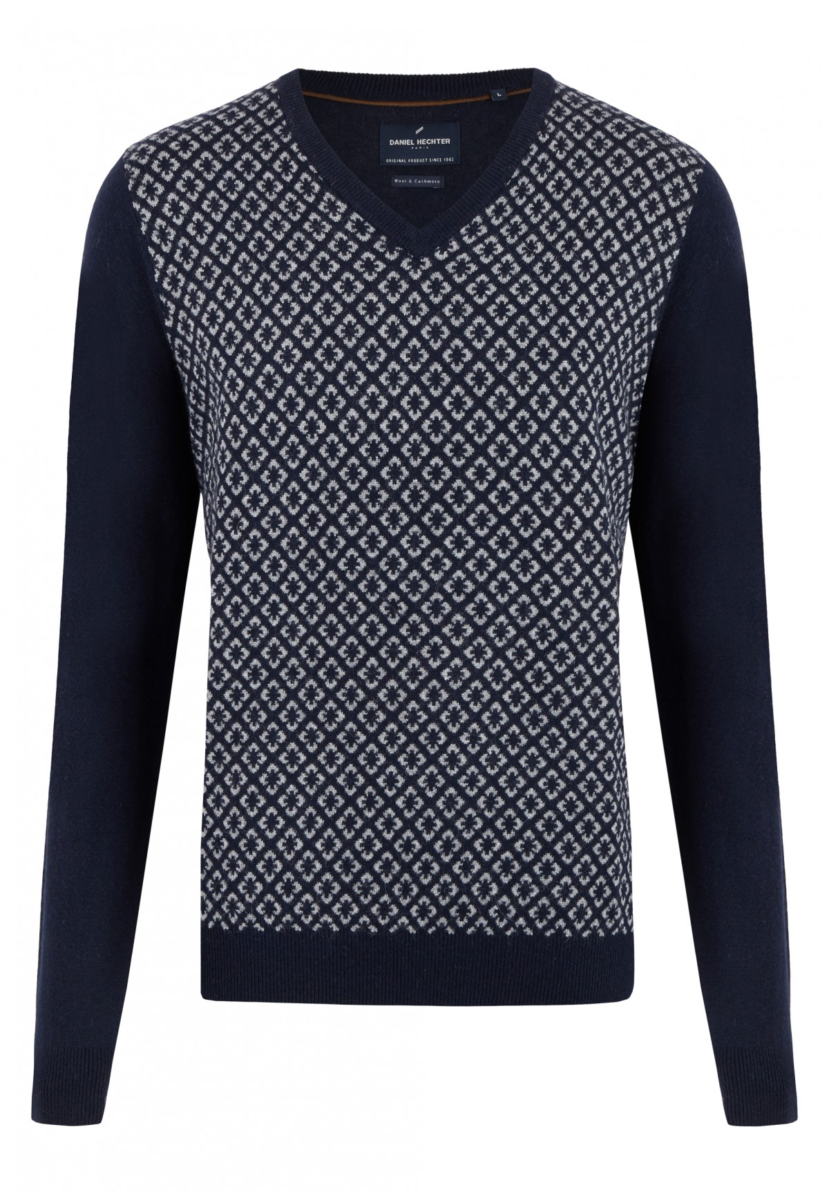 Pullover col V laine et cashemere corps fantaisie /