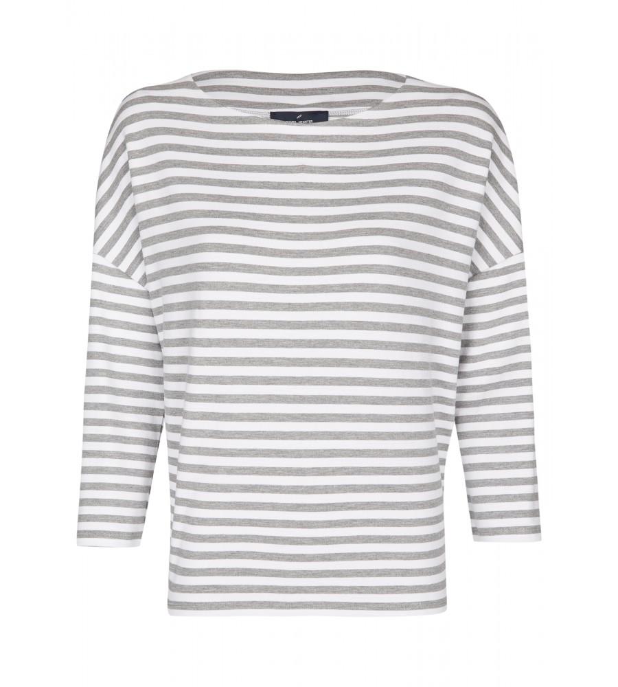 Klassisches Shirt - Dieses klassische Shirt von Daniel Hechter ist der perfekte Begleiter für Büro und Freizeit! Es begeistert mit seinem geraden Schnitt, versetzten ¾-�rmeln, dem hübschen Streifenmuster und einem femininen U-Boot-Ausschnitt. Der Stoff aus Viskosemix bietet höchsten Tragekomfort. Das Shirt wird in Europa produziert. Modell: 70020-700765
