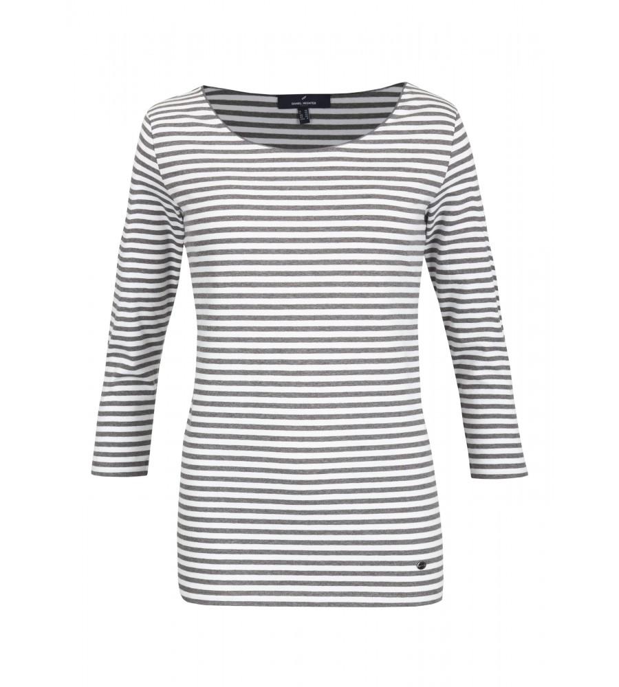 Shirt Celine - Ein leichtes Basicshirt mit rot/wei�em Streifen-Muster welches in keinem Kleiderschrank fehlen sollte. Durch das angenehme Baumwoll-Elasthan Material ist das Shirt äu�erst angenehm auf der Haut zu tragen. Das kleine Logo-Patch vorne links rundet den Style des Shirts ab.