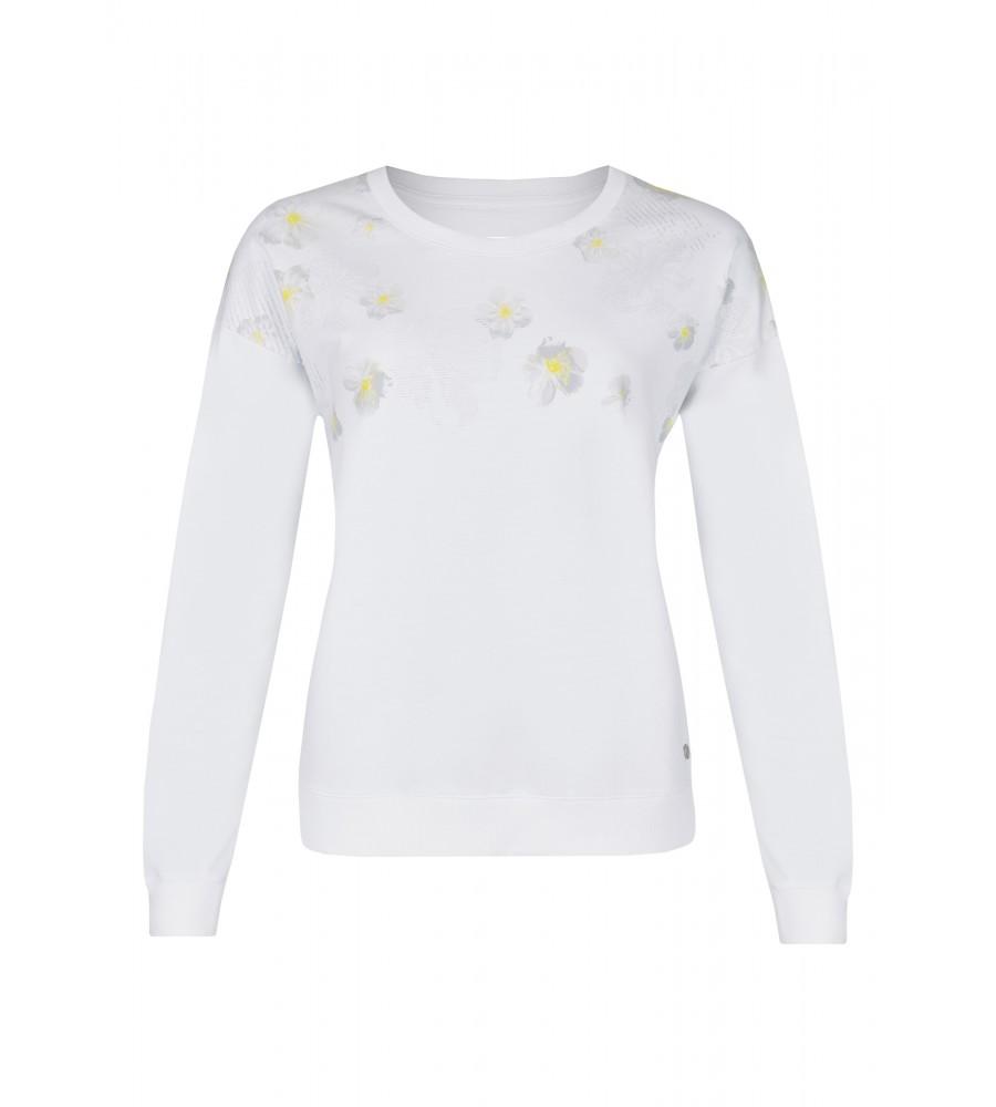 Trendiger Pullover mit floralem Print - Das trendige Sweatshirt begeistert durch das florale Muster und den lässigen, versetzten �rmelansatz. Es besteht aus einer hochwertigen Baumwoll-Polyester-Mischung, die sich sehr angenehm trägt und eine perfekte Passform bietet. Es lässt sich vielseitig zu Freizeitoutfits kombinieren.
