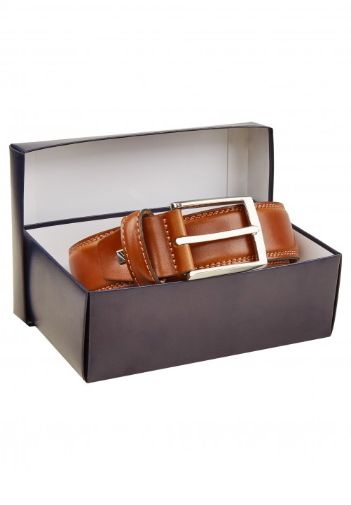 Hochwertiger Ledergürtel in Geschenkbox, cognac