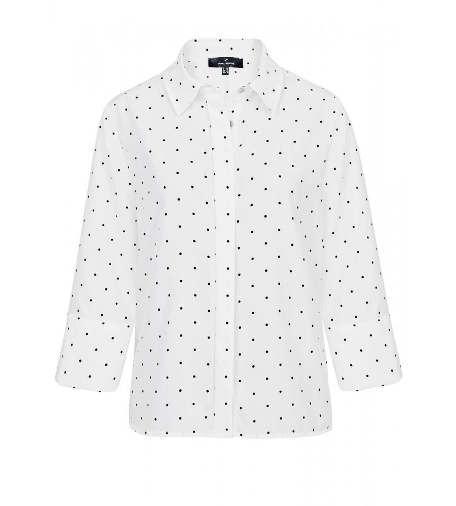 Bluse mit Pünktchen-Muster - Diese hübsche Bluse von Daniel Hechter ist der perfekte Begleiter für Business- und Freizeitanlässe. Ihre besondere Optik ist gekennzeichnet durch das moderne Pünktchen-Muster in Kombination mit den raffinierten Falten am Rückteil. Die Bluse verfügt über eine verdeckte Knopfleiste, �rmel in ¾-Länge und besteht aus hochwertiger Kunstfaser. Sie lässt sich sehr angenehm tragen und vielfältig kombinieren.