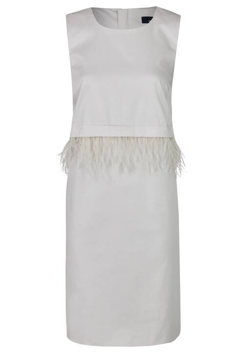 Feather Dress, Light Grey