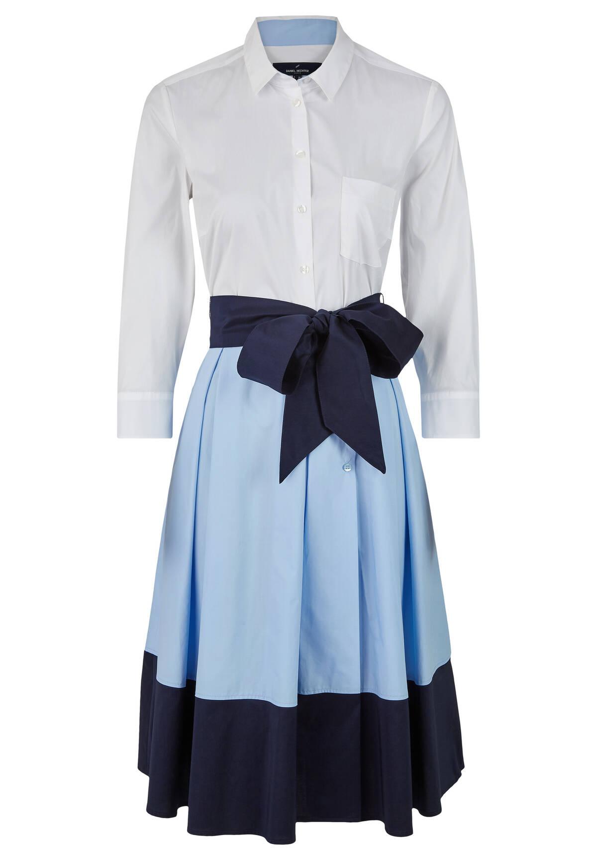 Blusenkleid mit farblich abgesetztem Rockteil / Dress