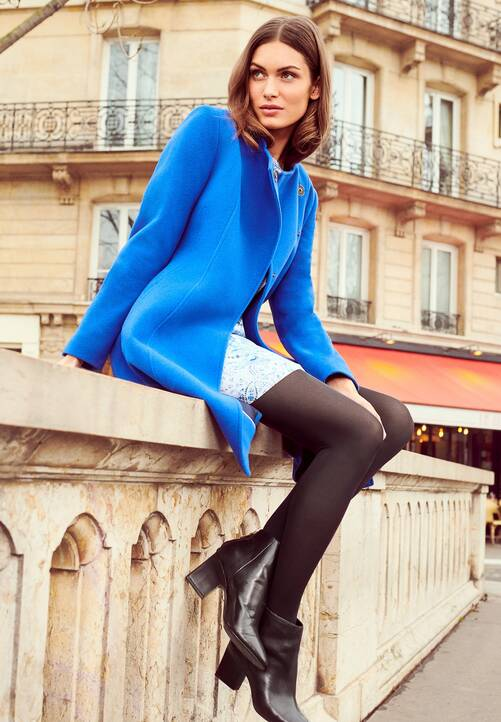 Wool Coat, blue satin