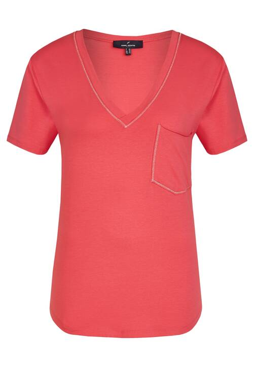 V-neck T-Shirt, raspberry
