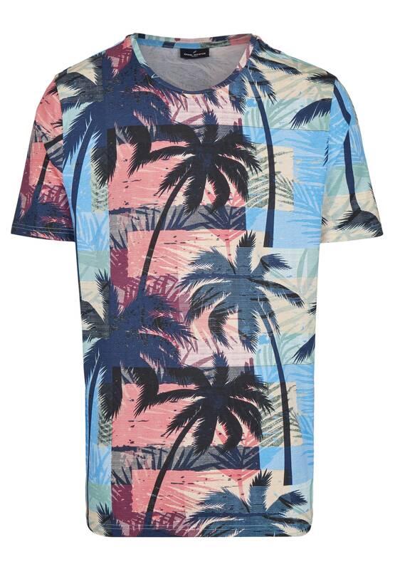 Artikel klicken und genauer betrachten! - Dieses sommerliche T-Shirt mit Palmenprint erinnert an den nächsten Traumurlaub. Der hochmodische Druck ist definitv ein Fashion-Statement. Das Halbarmshirt aus reiner Baumwolle hat einen Rundhalsausschnitt und ist in Modern Fit Passform geschnitten. Modell: DAH-75020-101918 | im Online Shop kaufen
